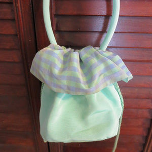 French green satchel hobo bag France pastel pouch